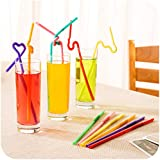Generic Free Shipping Art Straw Color Disposable 100pcs, Juice Bendable Straw