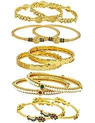 Jewels Galaxy Combo Of Designer Victoria Bangles, Mayur Bangles, Pearls Bangles And Coinage Bangles - Pack Of 10