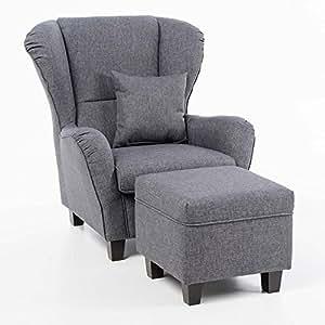 Amazon.de: Sessel Set Ohrensessel mit Hocker grau