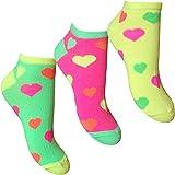 Ladies & Girls Fluorescent Neon Hearts Design Trainer Socks Liners (3 Pair Multi Pack)
