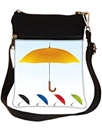 Snoogg Umbrellas Vector F Cross Body Tote Bag / Shoulder Sling Carry Bag