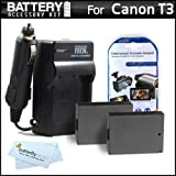 2 Pack Battery And Charger Kit For Canon EOS Rebel T3 Digital SLR Camera Includes 2 Extended (1500mAh) Replacement... - B0051WUH9G