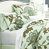 Crewel Pillow Giverny Green Tones On Ivory Cotton Duck Standard (20X26)