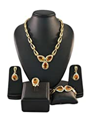 Champagne Heart Crystals Traditional Golden Color Jewellery Set