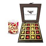 Wonderful Treat Of Wrapped Chocolates And Truffles With Love Mug - Chocholik Luxury Chocolates