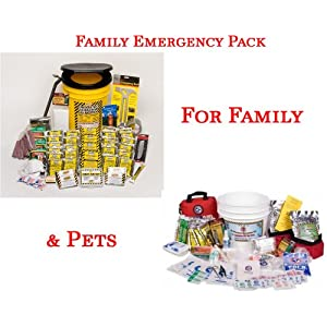 Mayday Family Package I - Emergency Safety Preparedness 72 Hour Kit And Pet Survival Kit For Dogs - Disaster Survival Gear Kits For Home, Work, School, And Office And Prepare For Hurricane Storm, Flood Evacuation, Fire, Or Terrorist Attack