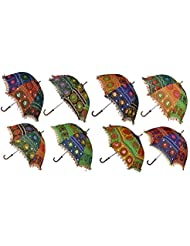 Decorated Handmade Embroidery Work Design Cotton Umbrella 24 X 28 Inches Set Of 20 Pcs