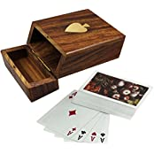 Set Of 12 - Wooden Playing Card Deck Holder With Deck Of Plastic Playing Card Handmade - Gifts Packs - 4.4 X 3.4...