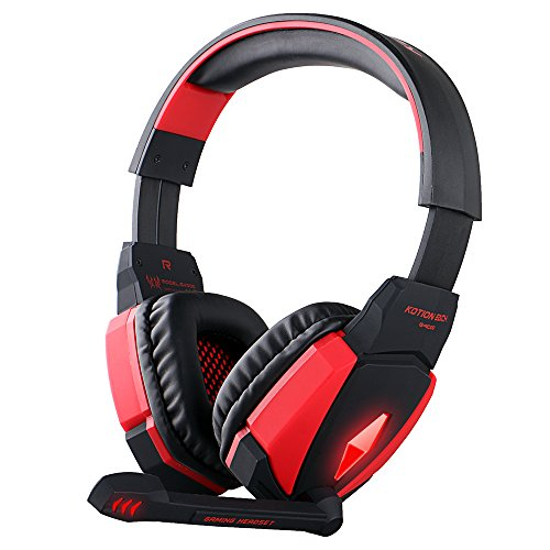 GuDenns USB Stereo Gaming Headphone Headset Headband With Microphone Volume Control LED Light For PC Game Black...