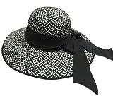 women ladies hat spring summer ladies Flat Brim black beach swinger bow tie fashion casual...