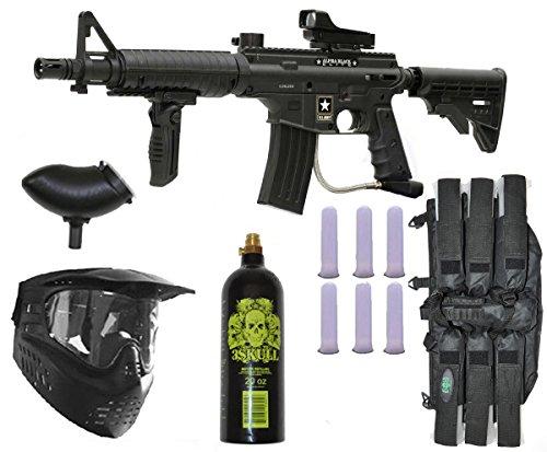 US Army Alpha Black Elite Paintball Marker Gun 3Skull Deluxe Package Set