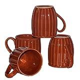 Inhomez Orange Stoneware Coffee Mug- Set Of 4