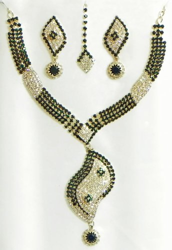 Dark Green And White Stone Studded Necklace, Earrings And Maang Tikka - Stone And Metal