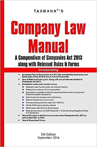 Company Law Manual (5th Edition, September 2016)