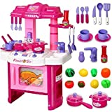 Kitchen Set Kids Luxury Battery Operated Kitchen Playset Super Toy For Girls With Light And Sound