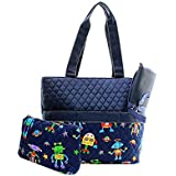 Quilted Robot Print Monogrammable 3 Piece Diaper Bag With Changing Pad Tote Bag