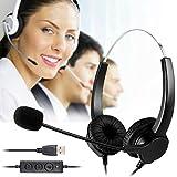 BizoeRade USB Plug Corded Headphone Call Center Comfort Noise Cancelling Headset With Adjustable Mic, Mute Volume...