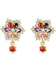 Yellow Chimes High Quality Swiss AAA Zircon Multicolor Shining Sparks Earrings For Women And Girls
