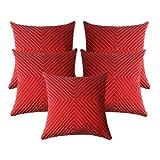 Zikrak Exim Verticle Thread Design Cushion Cover Red 5 Pcs Set 40 X 40 Cm