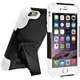 Amzer 97344 Double Layer Hybrid Case With Kickstand - Black/ White For IPhone 6 Plus
