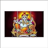 Nish! 'Religious & Spiritual' Collection | Shree Ganesha Painting On Tiles | Wall Art Highlighter Designer Digital Tiles (Ceramic Tiles - Gloss Finish, 3ft X 2ft, UV Cured, Set Of Three 1ft X 2ft Tiles) For Home, Living Room, Drawing Room, Temple