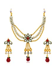 Sukkhi Appealing Three Strings Gold Plated AD Necklace Set