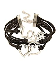 8 Republic London Mother's Day Infinity Love Double Hearts Black Leatherate Armband Bracelet For Women