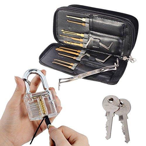 Drillpro Profi Lockpicking Set 24-teiliges Pick-Set Dietriche Kit,Schlossknacken Schlüssel Extractor Werkzeug + Transparente Übungs-Vorhängeschlösser für Schlosserei thumbnail
