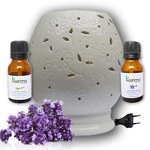 Kazima Ceramic Electric Aroma Oil Diffusers With Free Lavender & Lemongrass Essential Oil 15ml - B01KX4ZJVC