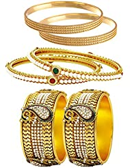 Jewels Galaxy Combo Of Designer Pearls Bangles, Trendy Gold Plated And Broad Peacock Bangles - Pack Of 6