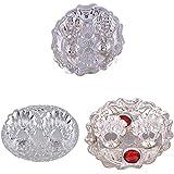 GS MUSEUM Silver Plated Rani Kumkum Plate, Silver Plated Oval Kumkum Plate And Silver Plated Roli Chawal Red Rani...