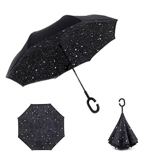 RAIN QUEEN Parapluie Canne Ouverture Inversé Double Toile Imprimé +C Poignée Grand Taille Dimension 105cm pour 2 personnes (Etoilé)