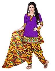Prafful Purple Beautiful Cotton Printed Unstitched Salwar Suit Material