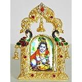 DollsofIndia Bal Gopal On Stone Studded And Golden Carved Metal Frame - Metal Frame - B00LD5SHDS
