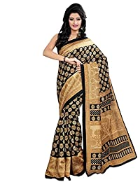 Shonaya Black & Beige Colour Printed Cotton Saree With Unstitched Blouse Piece