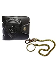 Apki Needs Stylish And Designer Black Mens Wallet And Golden Chain Keychain Combo