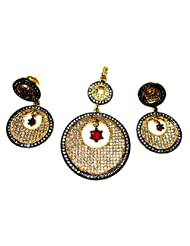 Poddar Jewels Cubic Zirconia Designer Golden Oxidized Pendant Set
