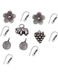Silvesto India Elephant,Grapes,Flower And Leaf Charm With 6 Pcs Hooks Jewelry PG-19886