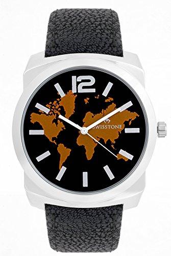 Swisstone ST-GR018-BLACK Black Dial Black Strap Analog Watch For Men/Boys