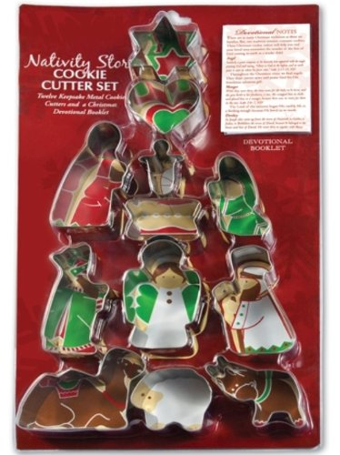 LCP Gifts Nativity Story Metal Cookie Cutter Set & devotional notes