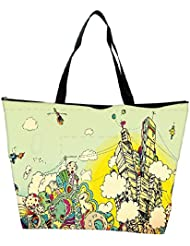 Snoogg Colorful City Drawing Designer Waterproof Bag Made Of High Strength Nylon