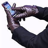 冬 スマートフォン対応 レザー手袋 メンズ用 タッチパネル対応 イーチップグローブ BROWN(茶)