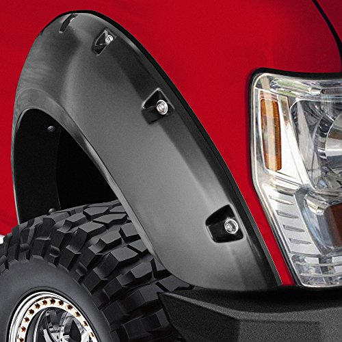 OxGord® Fender Flares for 11-15 Ford F250/F350 Pickup Truck Bolt On Pocket Rivet Style Set of 4 Pack Off Road Re-Paintable Matte Black Smooth Finish | OEM Factory Replacement Kit for Front, Rear Driver & Passenger, Left & Right Pairs – Complete Hardware Kit Included
