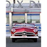 1950 Convertible Outside Diner By Car Culture Agency Art Print On Canvas 26x34.5 Inches