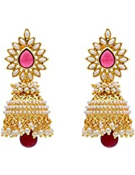 Zeneme Stylish And Trendy Gold Plated Pearl Jhumki Earring For Women And Girls
