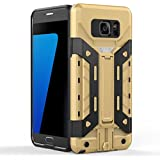 Cubix Galaxy Note Dual Sim Case, Space Series Rugged Armor Cover Hybrid Tpu+PC Dual Layer Flip Kickstand Back Cover For Samsung Galaxy Note Dual Sim (Golden Black) With Card Slot