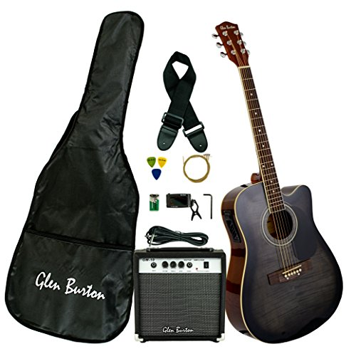 Glen Burton GA204BCO-BK Acoustic Electric Cutaway Guitar, melns
