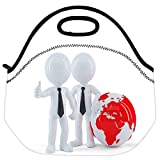 Snoogg Business People Standing In Front Of The Globe Business Concept Travel Outdoor Carry Lunch Bag Picnic Tote...