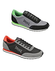 Lonsdale Mens Broughton Mix Light Weight Shoes Trainers LMA419 Black/Red Black/Green