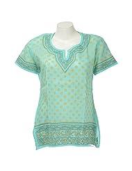 Lucknow Chikan Industry Women Cotton Chikankari Green Round Neck Kurti - B00PS4YEJQ